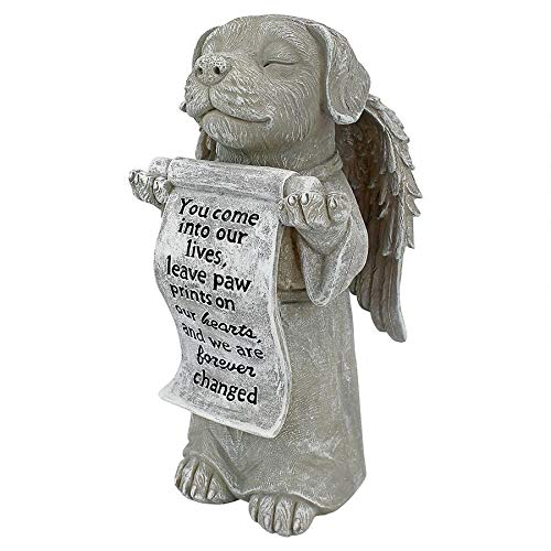 Design Toscano QL59384 Paw Prints on Our Hearts Memorial Dog Statue, Greystone (Dogs Leave Pawprints On Our Hearts Stone)