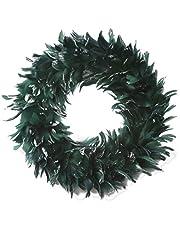 إكليل كريسماس من ريش الأوز الطبيعي - 38.1 سم أخضر مزرعة أو ديكور الخريف
