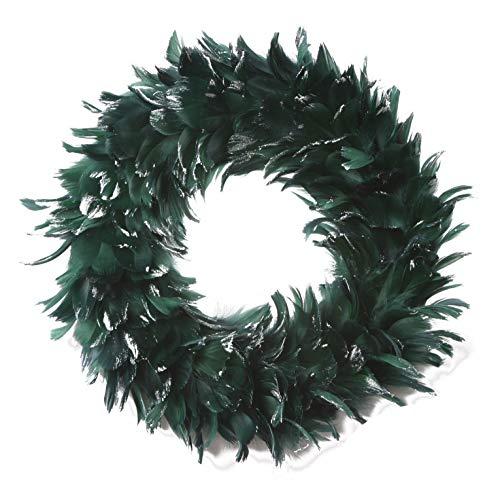 ZUCKER™ Goose Coquille Feather Christmas Wreath - Hunter Green/Opal Lurex