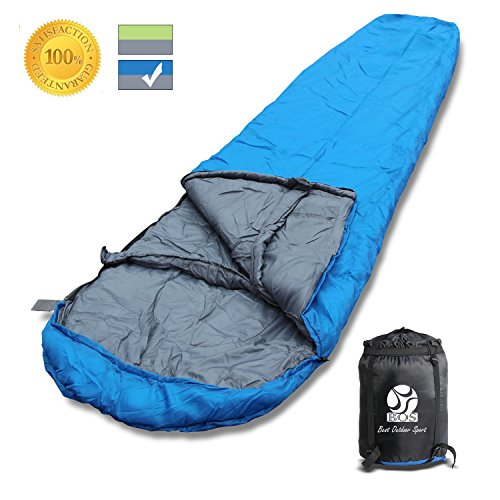 BOS Portable Mummy Sleeping Bag- Ultralight Waterproof Camping Sleeping Bag with Compression Sack for 4 Season Traveling and Outdoor Activities- Large Sleeping Bag for Adults up 72-Blue&Left-Zip