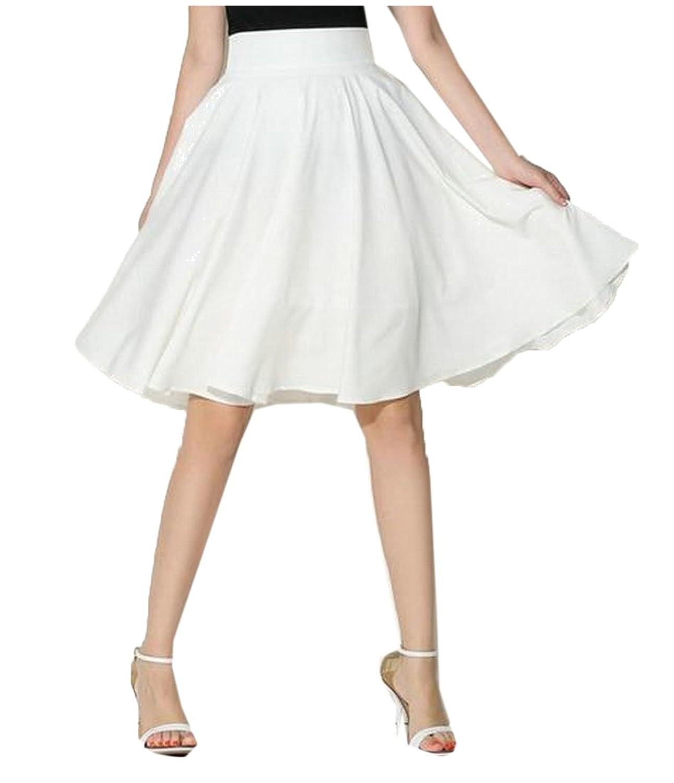2046ea67b338e Abetteric Women s Solid Vingtage High Waist Casual Knee Length Skirt