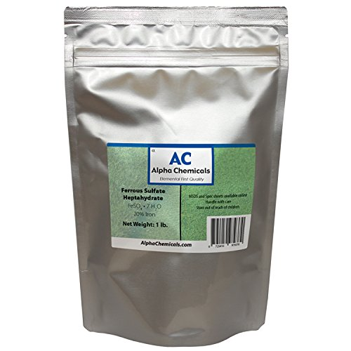 Ferrous Sulfate Heptahydrate - FeSO47H2O - 20% Iron - Very Soluble - 1 Pound