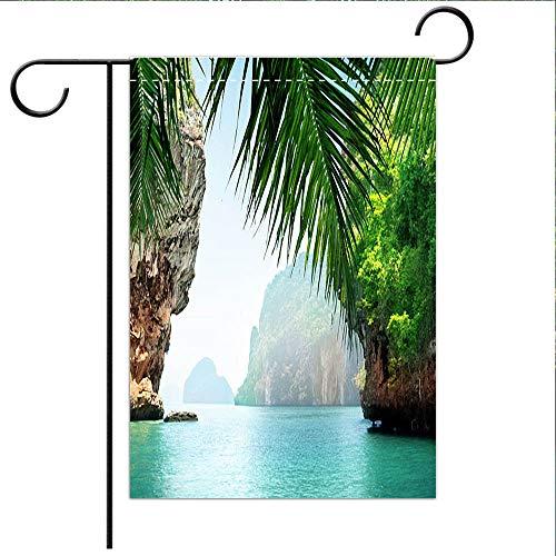 - BEICICI Custom Personalized Garden Flag Outdoor Flag Tropical sea and Rocks Decorative Deck, Porch, Patio, Balcony Backyard, Garden or Lawn