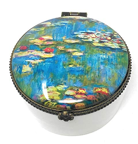 Value Arts Monet's Water Lilies Trinket Box, Ceramic and Glass, 2.25 Inches Diameter