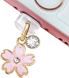 CP159 USB Charging Port Anti Dust Plug Cute Little Pink Cherry Blossom Pendant Phone Charm for iPhone 11/ XS MAX/XR/X/8 Plus/7/6S/7/SE iPad iPod