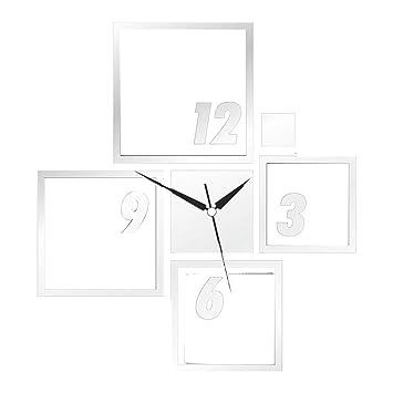 Flushzing Cuadrado de la Pared ahuecada 3D del Reloj de Espejo Etiqueta engomada DIY de acrílico Espejo Tatuajes de Pared Reloj de la decoración del hogar ...