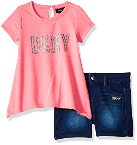 DKNY Big Girls' Fashion Top and Short Set, Dark Shark Tail Knockout Pink, (Dkny Kids Clothing)