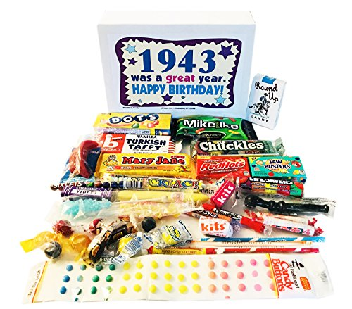 Woodstock Candy 1943 75th Birthday Gift Box - Nostalgic Retro Candy Mix from Childhood for 75 Year Old Man or Woman Jr. … by Woodstock Candy
