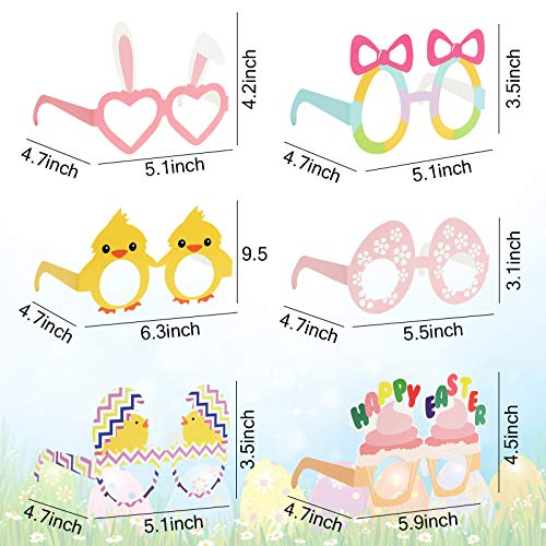 BigOtters Easter Party Glasses, 12PCS Easter Bunny Costume Glasses Chick Eyeglasses Egg Hunt Eyewear for Kids Party Favor Photo Props