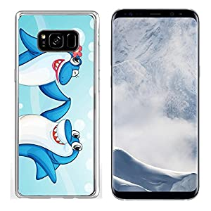 Liili Samsung Galaxy S8 plus Clear case Soft TPU Rubber Silicone Bumper Snap Cases IMAGE ID: 14058584 illustration of two dancing whale fishes in water