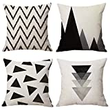 WOMHOPE 4 Pcs - 17'' [Just Cover] Black Style Cotton Linen Square Throw Pillow Case Decorative Cushion Cover Pillowcase Cushion Case for Sofa,Bed,Chair,Auto Seat (B Black)