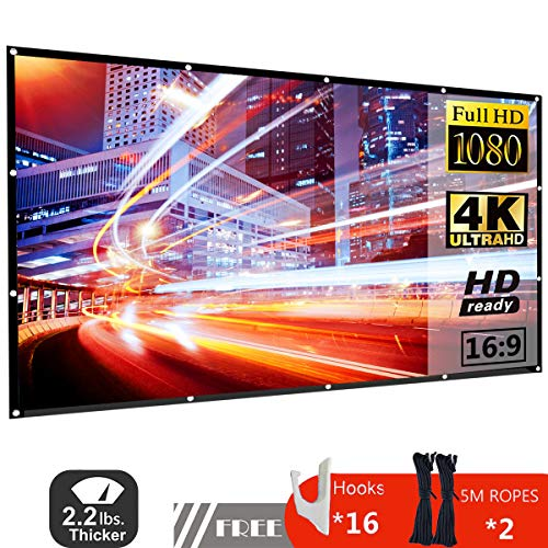120 Inch Projector Screen 16:9 HD Foldable Portable Anti-Crease Indoor Outdoor Movie Screen Support Double Slides Projection for Home Theater Gaming Office
