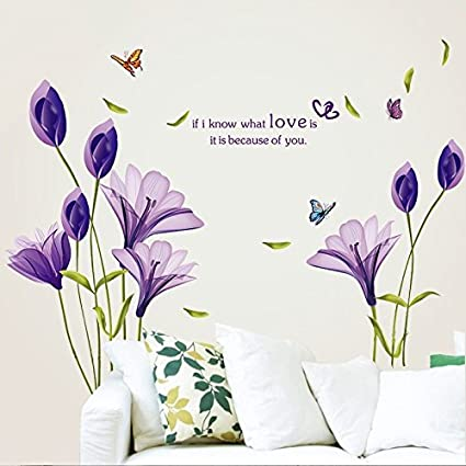 b6d191f642 LiveGallery Beautiful Lovely Lily Flowers Wall Decals Removable DIY  Butterfly Flower Vines Art Decor Wall Stickers