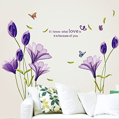 Purple Flowers Sticker - LiveGallery Beautiful Lovely Lily Flowers Wall Decals Removable DIY Butterfly Flower Vines Art Decor Wall Stickers Murals for Living Room TV Background Kids Gilrs Rooms Bedroom Decoration (Purple)