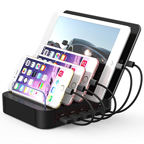 USB Charging Station,Milletech 5 Port USB Power Strips Outlet Charger Stand for Multi Mobile Devices iPhone 7 7Plus iPad pro Samsung S6