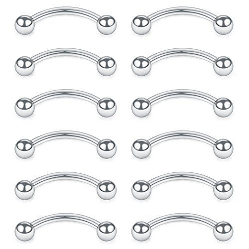 SCERRING 12PCS Stainless Steel Curved Barbell Eyebrow Tragus Helix Ear Belly Lip Ring Body Piercing Jewelry with Balls 16G 6mm ()