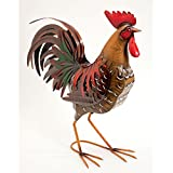 Bits and Pieces - Life-sized Rooster on the Farm - Metal Garden Sculpture - Our Metal Rooster Is Perfect for Home and Garden Décor - Metal Garden Art, Outdoor Lawn and Patio Decor, Backyard Sculpture.