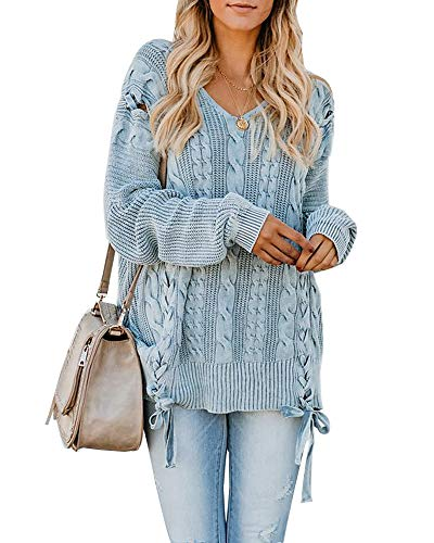 - Foshow Womens Oversized Fall Pullover Sweaters Chunky Cable Knit Lace Up Long Tunic Blue