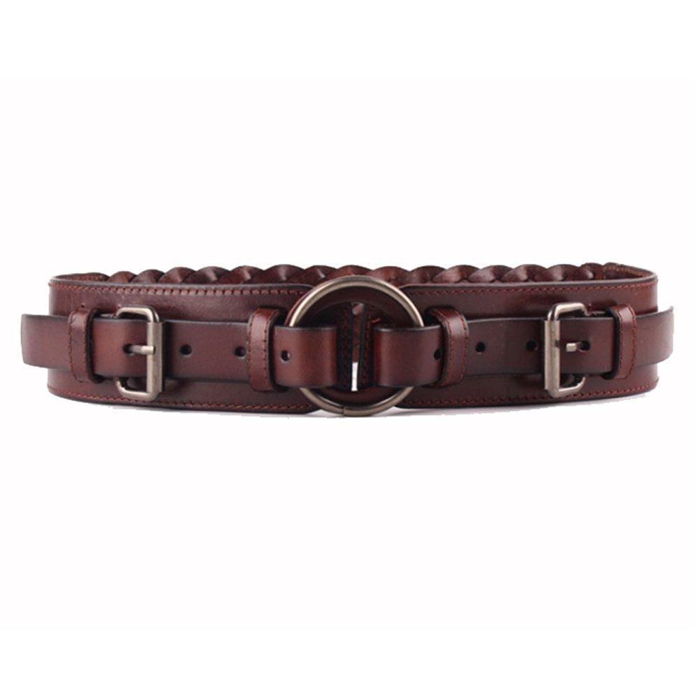 Coffee Canvas Belt Women's Belt Genuine Leather Wide Stretchy Cinch Belt Vintage Chunky Buckle Belts (color   Camel)