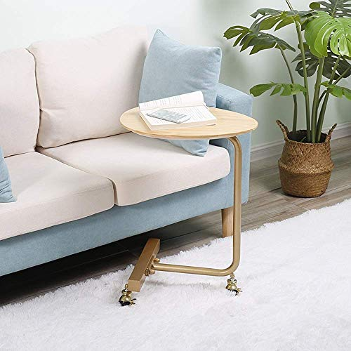 YueQiSong Nordic Sofa Side Table, Mobile Pulley Small Coffee Table, Modern Minimalist Living Room Solid Wood Creative Bedside Table,Ellipse, d ()
