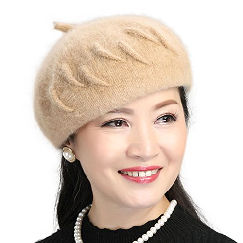 Tthy Mer Fashion Beret Winter Warm Hat Middle-Aged Mother Rabbit Hair Caps