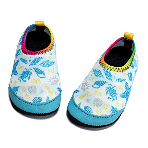 Panda Software Baby Boys Girls Water Shoes Infant Barefoot Quick -Dry Anti- Slip Aqua Sock for Beach Swim Pool Shell/6-12 Months M US Infant ()