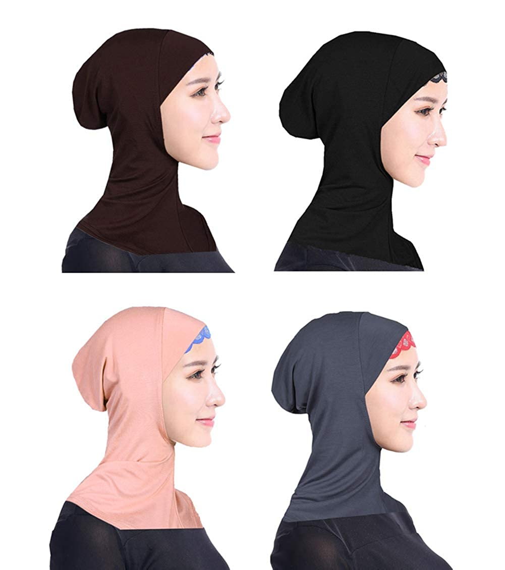 Ksweet 4pcs Hijab Caps Under Scarf for Women Muslim Islamic Inner Cap Underscarf Hijab Scarfs