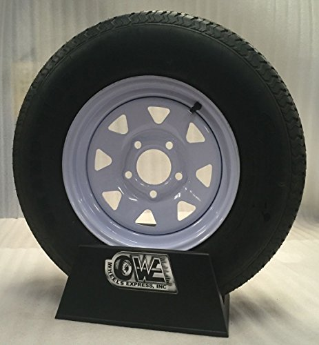 "15"" White Spoke Trailer Wheel with Bias St205/75d15 Tire Mounted (5x5) Bolt Circle"