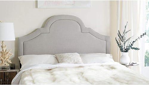 Safavieh Kerstin Arctic Grey Upholstered Arched Headboard Queen