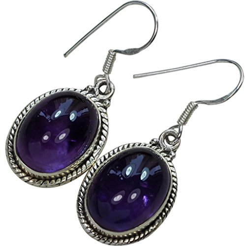 (41CT Top Quality Purple Amethyst Earrings and.925 Sterling Silver Dangle Oval Earrings,1.5