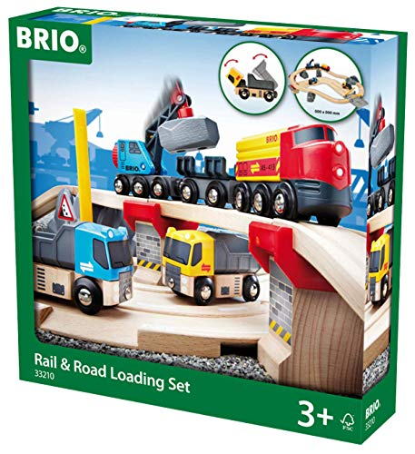 (BRIO 33210 Rail and Road Loading Set | 32 Piece Train Toy with Accessories and Wooden Tracks for Kids Age 3 and Up)