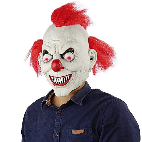 TV Clown Costume Latex Mask Creepy Evil Scary Halloween Mask for Adults Ghost Festive Party Horror Supplies Decoration -