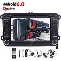 Android 6.0 Double din Car Stereo in Dash 7Inch GPS Car DVD Player Headunit for Volkswagen Golf Passat Polo Jetta Tiguan with Multi-Touch Screen Autoradio Bluetooth FM AM Wifi + External Microphone