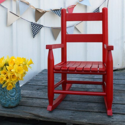 Durable Ash Wood Construction Kids Indoor/Outdoor Rocking Chair 14.5L x 20W x 23.5H inches - Red by Dixie Seating Company