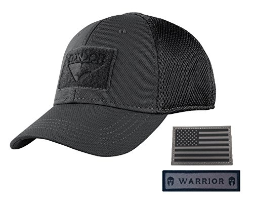 Condor Flex Mesh Cap, BLACK + Flag & Warrior Patch, Fitted Tactical Operator Hat (L/XL)