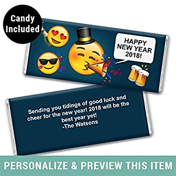 personalized new years eve emoji chocolate bar wrapper fully assembled 12