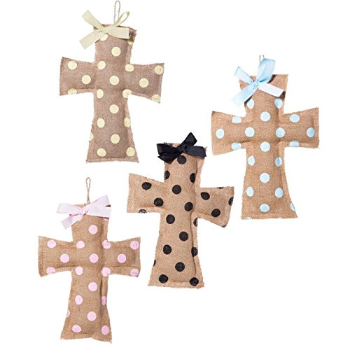 Polka Dot Burlap Crosses Set of 4 by Blossoms & Buds