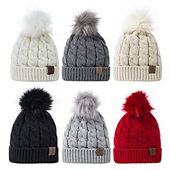 REDESS Baby Winter Warm Fleece Lined Hat, Infant Toddler Kids Pom Pom Beanie Knit Cap For Girls and Boys [0-5Years],set of 6