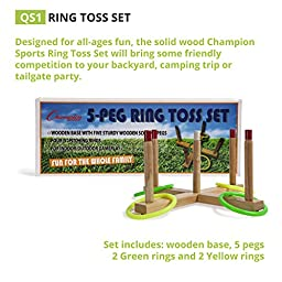 Champion Sports Wooden Ring Toss Game for Tailgating, Camping, Backyard and Gym (Includes Wooden Base, 5 Wood Pegs, 2 Green and 2 Yellow Plastic Rings)