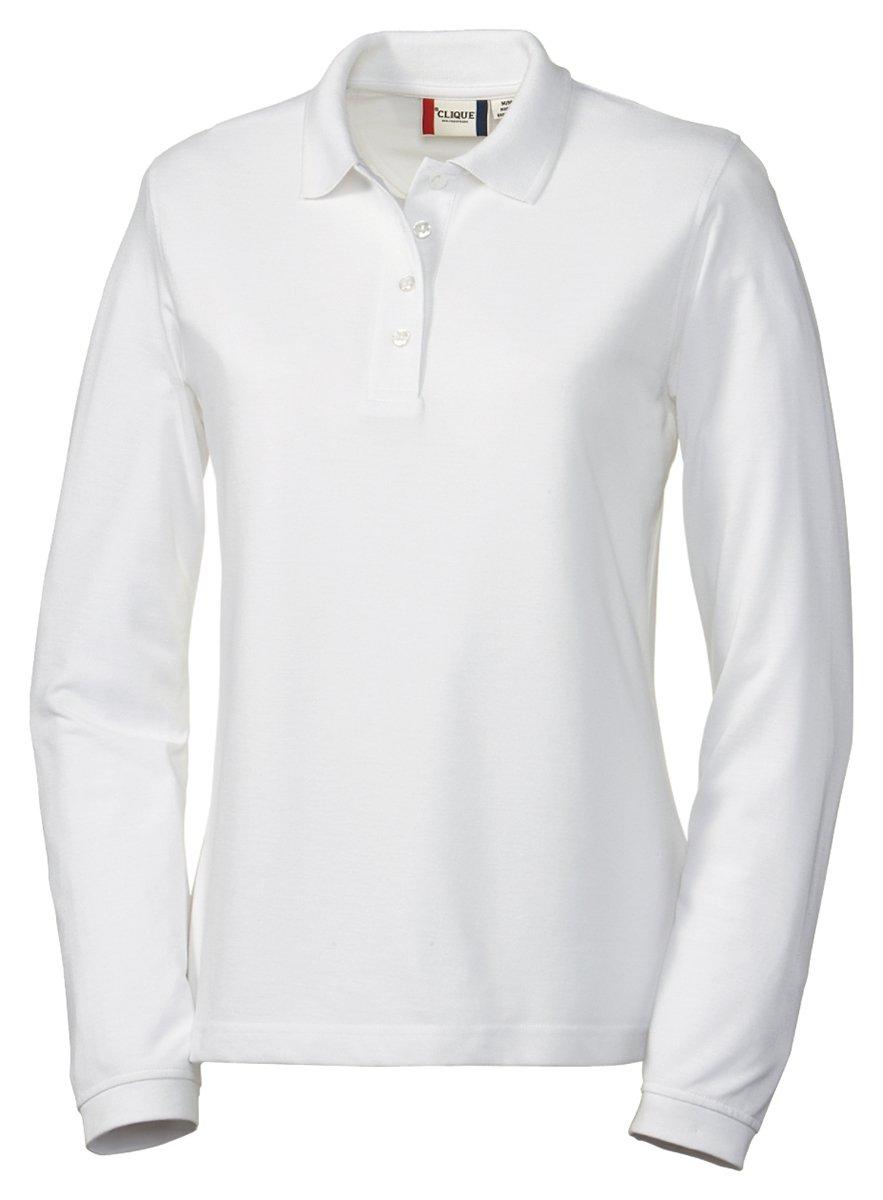 Clique Women's Knit Collar Pique Polo Shirt, White, Small