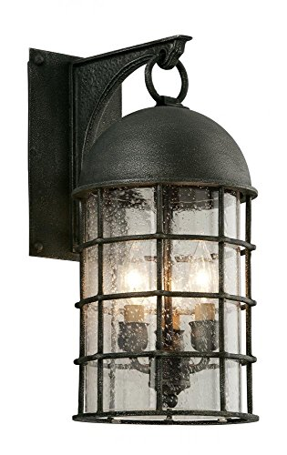 - Troy Lighting Charlemagne 3-Light Outdoor Wall Light - Aged Pewter Finish with Clear Seedy Glass Shade