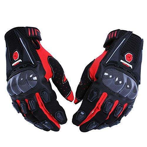 SCOYCO Men's Gloves Black,with Microfiber Hard Knuckle,Waterproof,Breathable, Powersports,Motorbike,Scooter,Motorcycle Glove.(RED,L) -
