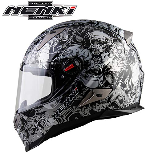 CAKUI Cool Silver Flower Ghost Head Professional Motorcycle Helmet,Adult Four Season General Locomotive Motorcycle Full Face Helmet,DOT/ECE Certified - Motors General Locomotives