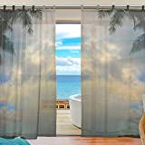 INGBAGS Bedroom Decor Living Room Decorations Hawaii Guam Beach Pattern Print Tulle Polyester Door Window Gauze / Sheer Curtain Drape Two Panels Set 55×78 inch Y185