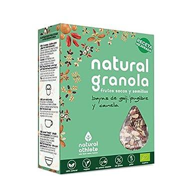 Granola *Nueva Receta* -Natural Athlete- Desayuno con frutos secos y semillas - 100% natural y orgánica, sin azúcar refinado. Pack 4x325gr (Bayas de Goji, ...