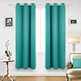 Deconovo Solid Grommet Top Curtains Blackout Curtains Thermal Insulated Light Blocking Curtains for Living Room Turquoise 42W x 84L Inch 2 Panels