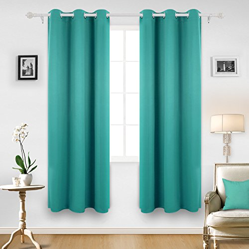Interior Turquoise Bedroom Decor turquoise bedroom decor amazon com deconovo room darkening thermal insulated blackout grommet window curtain panel for turquoise42x84 inch1 panel