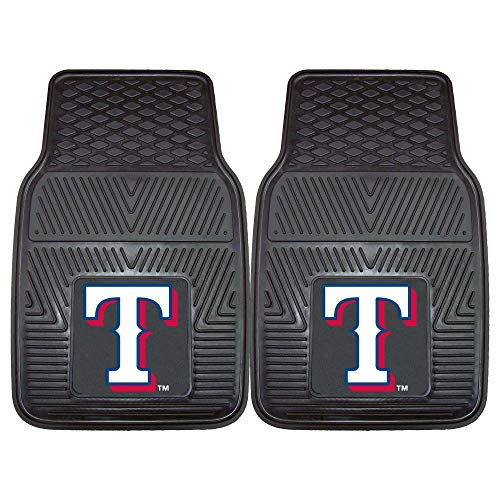 2 Piece MLB Rangers Car Mats, Baseball Themed Sports Floor Mats for Cars Trucks SUVs RVs Van Truck Carpet Rugs Universal Size Fit Team Logo Fan Gift, Heavy Duty Durable Vinyl, Black, 17