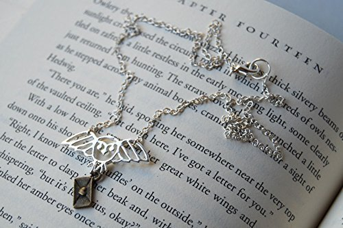 ccf53d4f807e7 Enchanted Leaves - Silver Messenger Owl Necklace - Hedwig Necklace ...