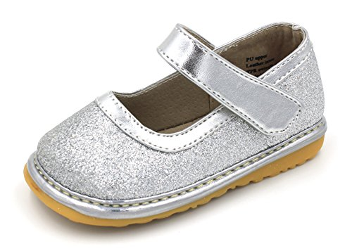 - Squeaky Shoes |Silver Sparkle Mary Jane Toddler Girl Shoes Removable Squeakers 3